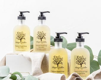 Liquid Soap in a Glass Pump - Made with Organic Essential Oils - Lavender, Lemongrass, Peppermint, Tea Tree or Rose - Handcrafted - 15oz