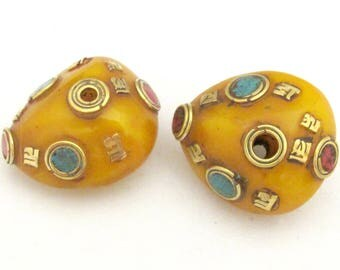 2 beads  - Beautiful reversible Tibetan copal resin beads with brass Om mantra and turquoise coral inlay - BD721