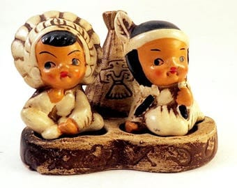 Vintage Japan INDIAN Kids with Teepee Salt and Pepper Shakers Toothpick Holder Boy Girl Couple Children Retro Ceramic Figural
