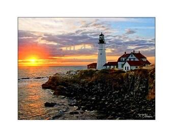 Portland Head Light, Lighthouse,Lighthouse Photo,Wall Art,Art