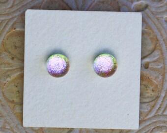 Dichroic Glass Earrings , Light Green Lavender Pink DGE-1239