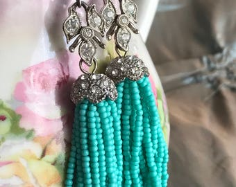 turquoise tassels - earrings vintage art deco rhinestone and seed bead fringe statement jewelry boho bohemian beach, the french circus