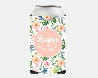 Wedding Favors Peach Floral Wedding Favors Can Cooler Peach Wedding Party Favors Bridesmaid Gifts Pink Bridesmaid Gift Ideas NZ