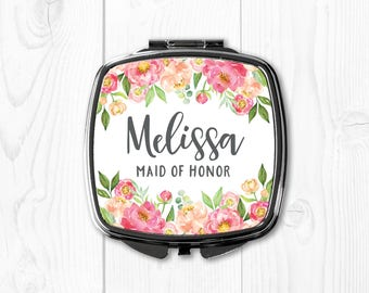 Maid of Honor Gift Ideas Wedding Gifts for Maid of Honor Pink Compact Mirror Peach Wedding Gift Ideas for Maid of Honor Personalized Gifts