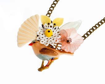 Statement Necklace Garden Bird Flowers Unique Necklace for her, Summer Jewelry