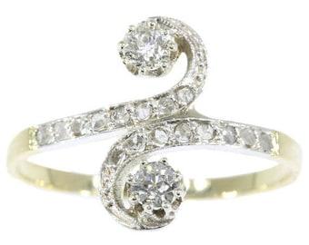 ON SALE Belle Epoque antique diamond ring you and me silver 18k gold old brilliant cut diamonds rose cut diamonds 1900s