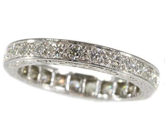 Diamond eternity band platinum brilliant cut diamonds 1.50ct vintage wedding band mid-century jewelry