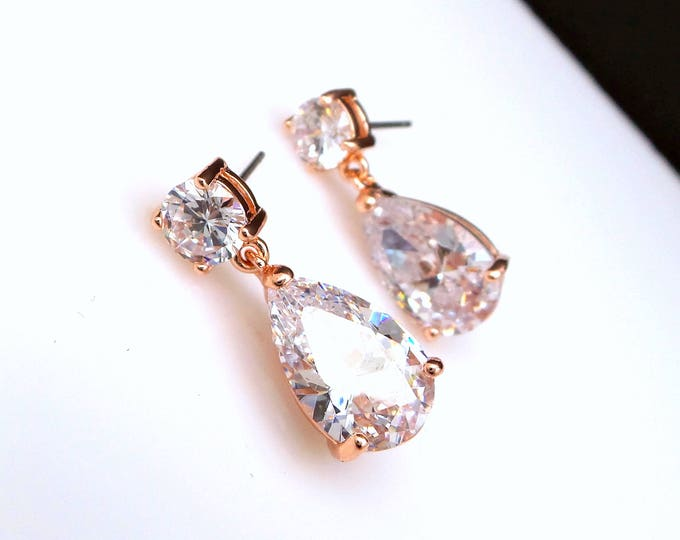 bridal jewelry bridesmaid prom party gift  wedding christmas Clear white teardrop cubic zirconia round cz post rose gold earrings solitaire