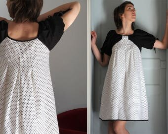 "DRESS B & w RETRO peas ""BRIGITTE"""