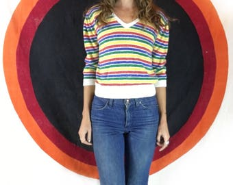Vintage retro 70s 80s rainbow striped sweater pullover with button up back // size large