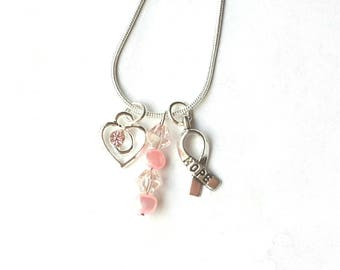 Silver necklace pink freshwater pearls, pink crystal silver heart charm, hope charm, breast cancer awareness gifts for her, 925 silver