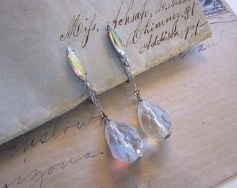 vintage crystal earrings - teardrop dangle crystal beads, clear with AB finish, clip style earrings