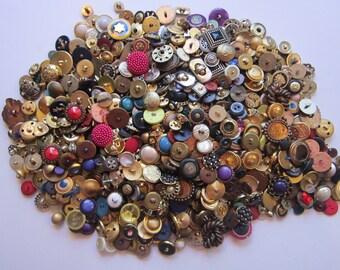 vintage button lot - 1/2 gallon bag - large assortment - most metallic plastic