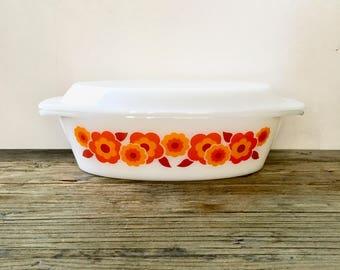Vintage French Arcopol serving bowl / orange Lotus floral casserole dish with lid / milk glass casserole dish with lid