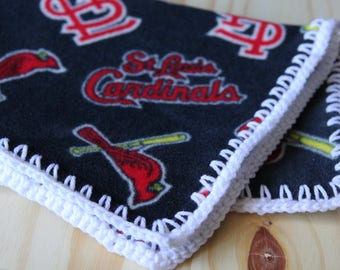 St. Louis Cardinals Fleece Blanket with Crocheted Edge