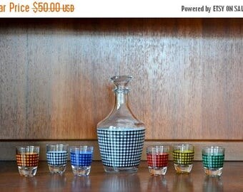 CIJ SALE 25% OFF vintage 1960s verrerie cristallere d'arques hounds-tooth style french cocktail set