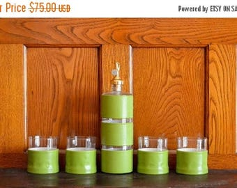 CIJ SALE 25% OFF vintage mid-century modern green cocktail set