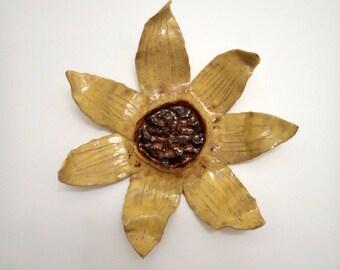 Ceramic sunflower outdoor garden art, pottery sculpture, ceramic wall art, yellow sunflower garden decor, stoneware wall art