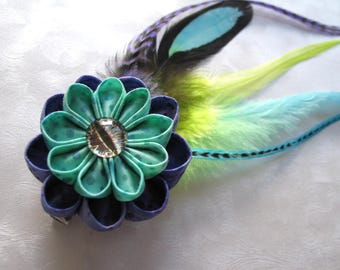 Crystal Serpent Kanzashi Flower Hair Clip