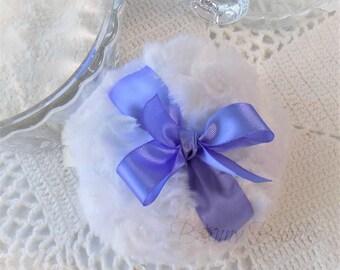 Iris Purple Powder Puff - pastel lilac purple bath pouf - handmade powderpuff - gift box option - handmade by Bonny Bubbles