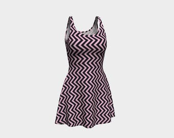 Pink Zig Zag Skater Dress | Size XS S M L XL | Bold Design Pattern | Party Dancing Ice Roller Skating | Short Fitted Sleeveless Mini Dress