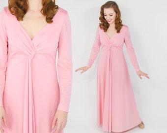 70s Estevez Dress | Pink Evening Dress | Eva Gabor Look | Long Pink Dress, Medium