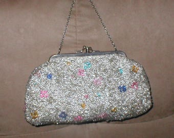 Vintage Silver w/ pastels Beaded Evening Purse