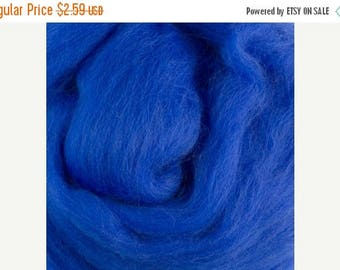 On Sale Superfine merino, 19 microns, Royal Blue wool roving, top, sliver, 1 oz.