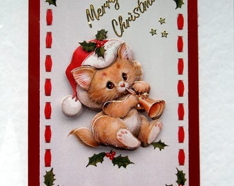 Christmas Card, Happy Christmas Hand Crafted 3D Decoupage Card, Happy Christmas (1761), Layered Card, Xmas Card