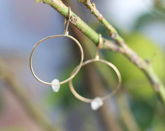 Jupiter Drops - Gold Filled and Herkimer Diamond Hoop Earrings