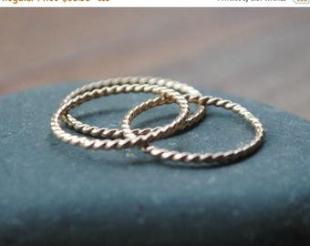 Gold Braided Stacking Ring - Twist Ring