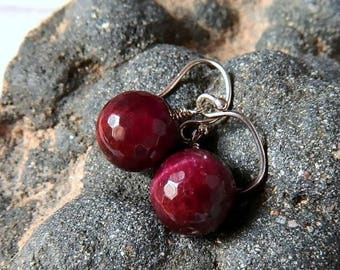 Garnet Red Tigers Eye Earrings Ruby Red Earrings Red Dangle Earrings Marsala Gemstone Drops Burgundy Wine Stone Earrings Sterling Silver
