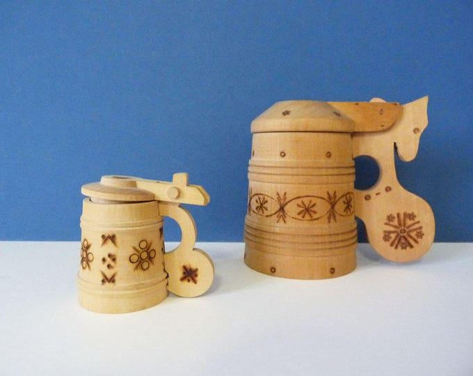 Vintage hand carved Stein mugs