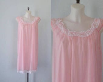 Vintage Pink Chiffon Nightgown, Chiffon Nightgown, Pink Chiffon Nightgown, Vintage Nightgown, Vintage Lingerie