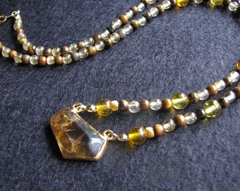 Citrine necklace | crystal | gold pendant | tigers eye | beaded | electroplated | gold dipped | handmade