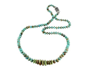 TURQUOISE BEADS KNOTTED Necklace with Gaspeite