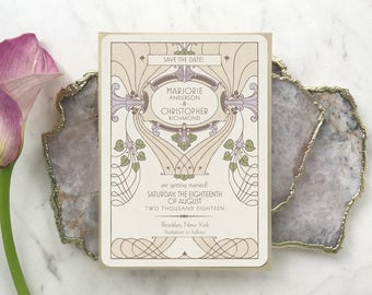 Save the Date Cards, Save the Date, Spring Wedding, Wedding Invitations, Boho Wedding, Art Nouveau Wedding, Downton Abbey Wedding, Littleton
