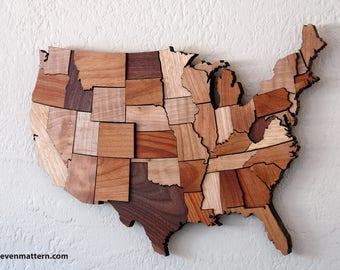Fixed USA Map Wall Art - Mixed Woods