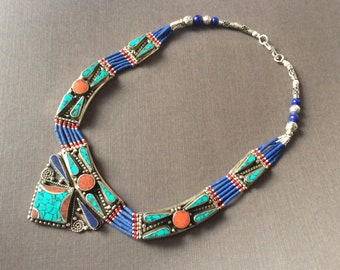 Lapis Turquoise Coral Nepal Necklace,lapis lazuli statement necklace,Tibet bohemian jewelry,Tribal Afghan Jewelry,Antique bib Necklace
