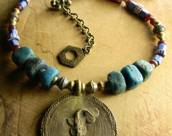 African Fish Necklace Tribal Pendant Brass Russian Blue Hebron Red Trade Beads