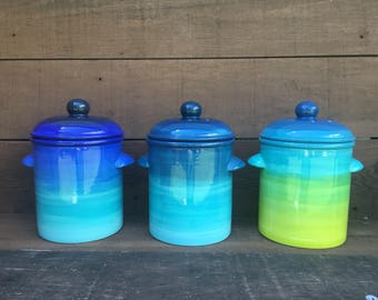 Shades of Teal Ombre Ceramic Compost Canister with Charcoal Filter - Turquoise Gradient Design