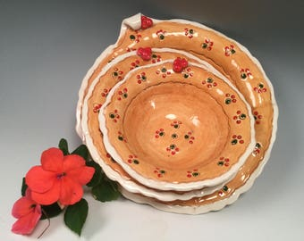 Pottery bowl/nesting bowls/bowl set/kitchen prep bowls/orange pottery/bridL shower gift/small bowls/handmade bowls/handmade pottery bowls