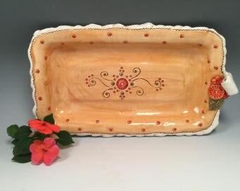 Pottery tray/serving tray/orange pottery/tray/small tray/small dish/handmade dish