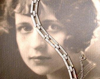 Antique Art Deco Bracelet, Paste Rhinestone Bracelet Crystal Wide Link Vintage Wedding 1930s Silver Pave Flapper Jewelry 1920s Bracelet