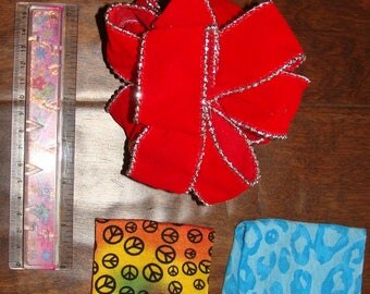 3 Hair Accessories Jersey Fabric Headband Rainbow Peace Sign Blue Cheetah Holiday Red Velvet Silver Trim Bow Wired to adjust bow