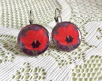 Niles Red Poppy - Lever Back Short Photograph Earrings.