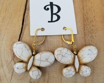 Ivory Colored Stone Butterfly Earrings