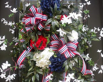 4th of July Wreath, Patriotic Door Wreath,  July 4th Wreath, 4th of July Decor, Patriotic Wreath, July 4th Decorations