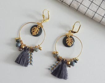 """""""Hint of winter"""" earrings with leaves"""