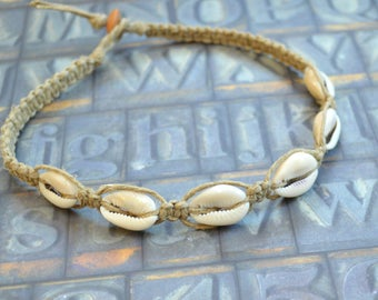 Hemp Necklace with Cowrie Shells Beach Jewelry Vacation Everyday Choker